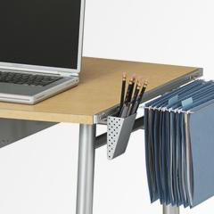 The new desk provides retailers and consumers with a unique combination of design and convenience including:  Compact Storage – the desk folds down to a mere 6 inches, maximizing both retail shelf space and consumer living space when not in use Easy Set-Up – pre-assembled in its box, the new desk can be set up in four easy steps without the need of any tools Convenient Accessories – a printer stand, keyboard tray, adjustable pencil holder, hanging file holder, and CD tray are standard accessories Portabilit